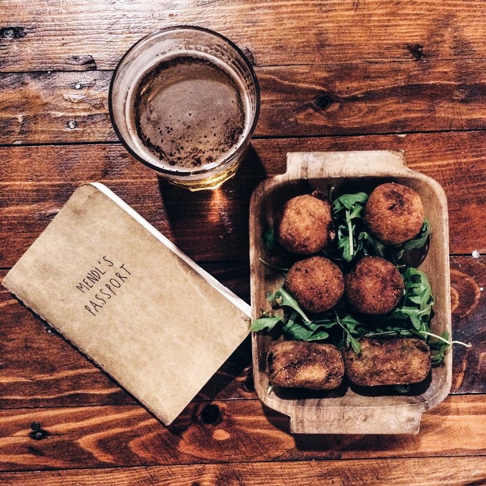 A cute menu and an assortment of croquetas as Mendl's, Barcelona