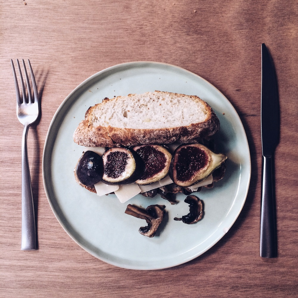 Fig, cheese and mushroom sandwich at Were-Haus Barcelona