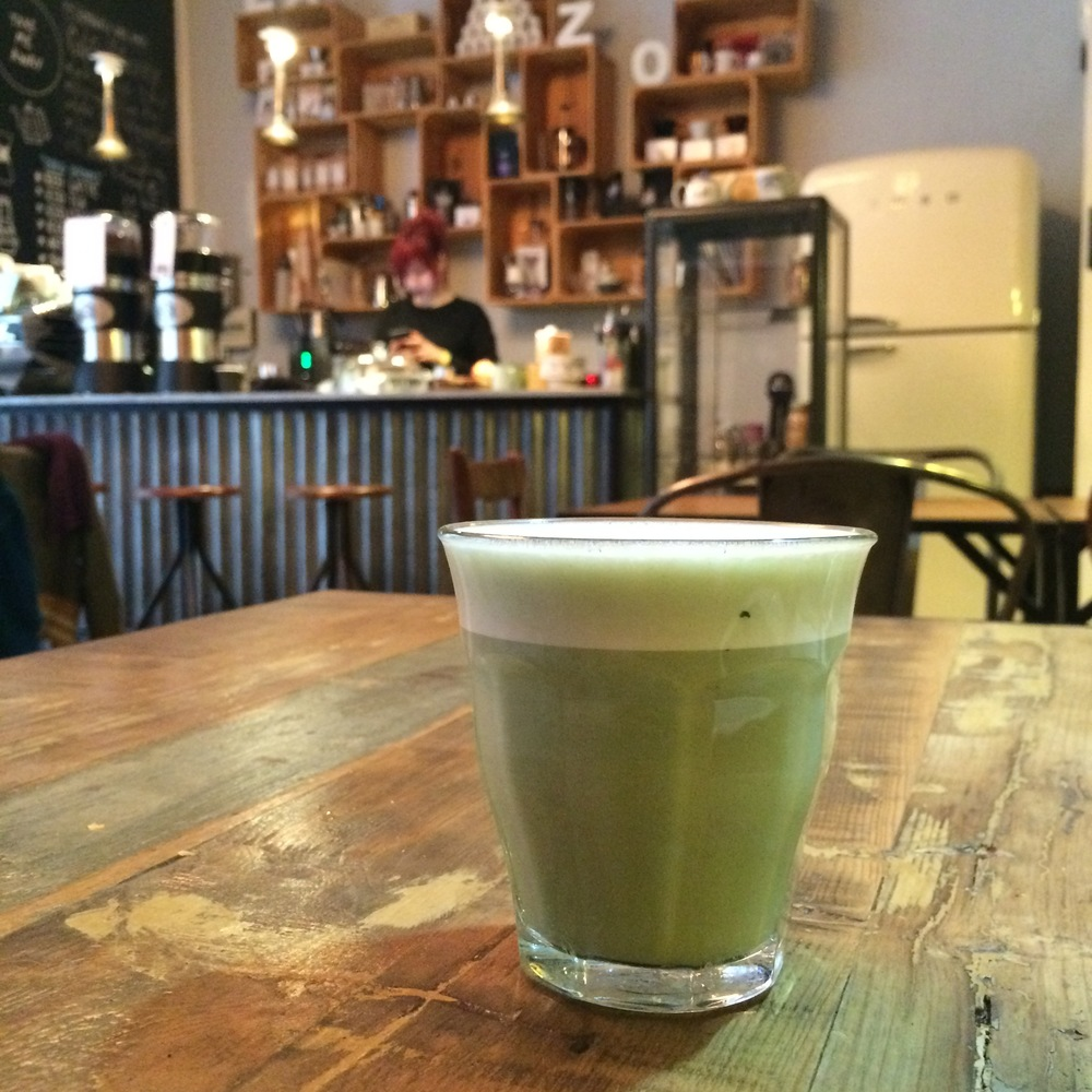 Matcha latte at True Artisan Café Barcelona