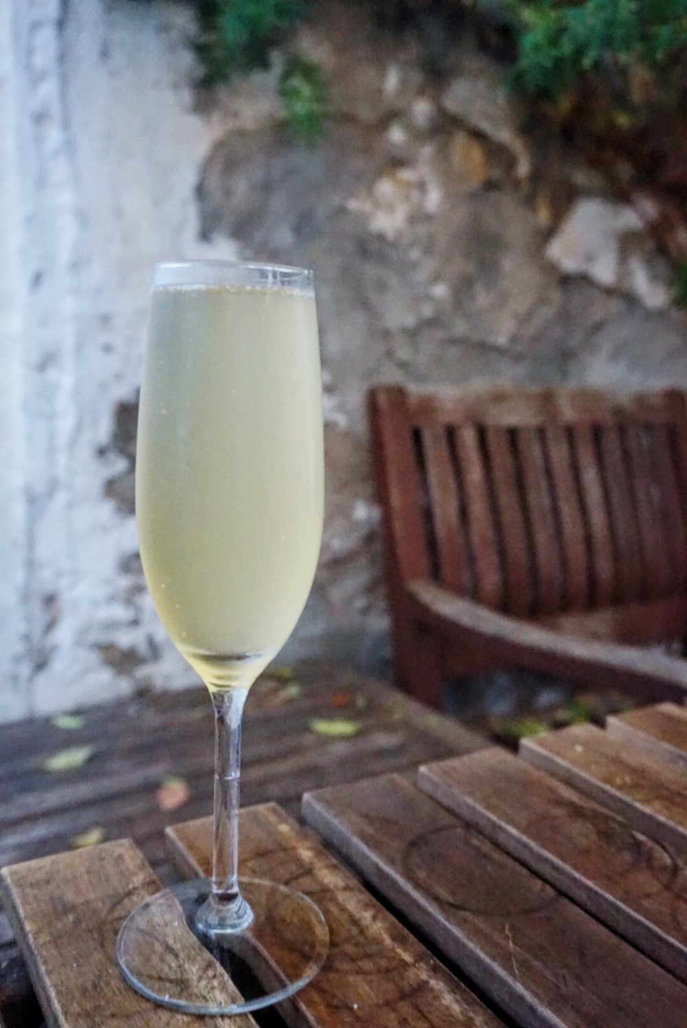 A French 75 at Mama's Cafe, Barcelona