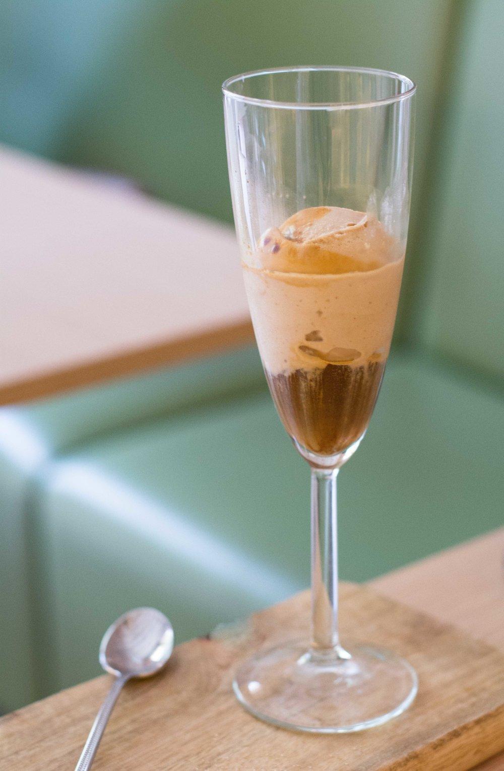 Affogato with specialty coffee espresso and quality hazelnut ice cream at Frenesi Cafe, Barcelona