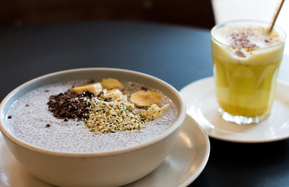 Chia pudding and turmeric latte at Federal Café, Barcelona