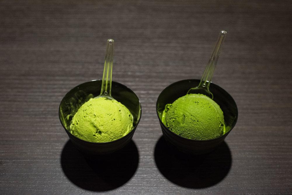Two different strengths of matcha ice cream at Suzukien Akasaka, Tokyo