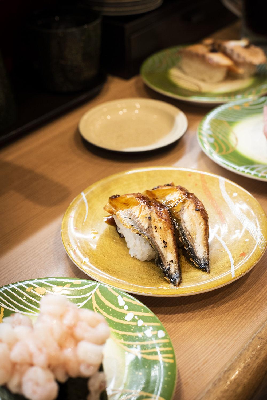 Conveyor-belt sushi at Maguro-donya Miura Misaki-kou, Ueno, Tokyo