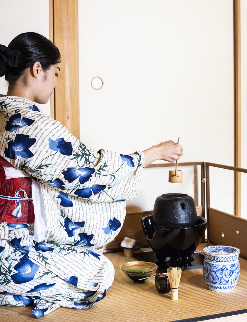 Matcha in the making at Camellia Flower Tea Ceremony, Kyoto