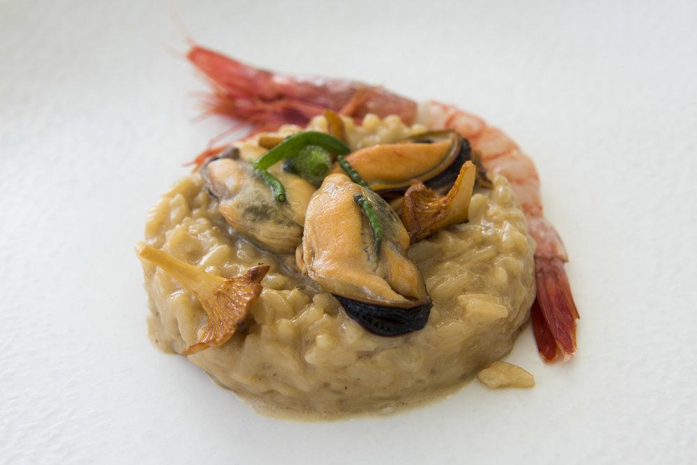 """Costa Brava's Vreamy Rice with Red Shrimp from Palamós"", La Terraza del Claris, Barcelona. Photo © Barcelona Food Experience"