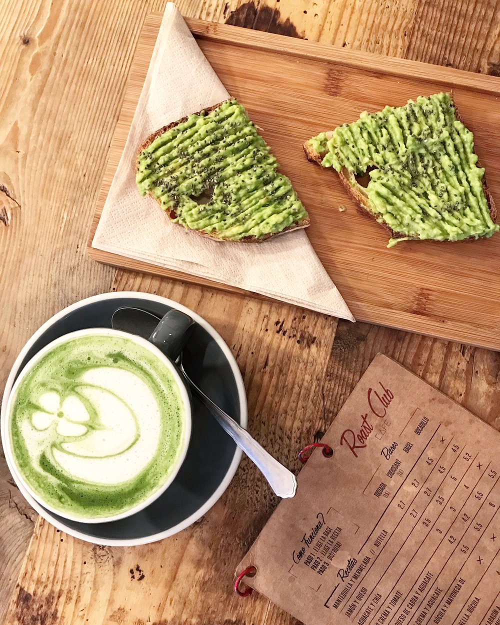 Matcha Latte at Roast Club Cafe, Barcelona