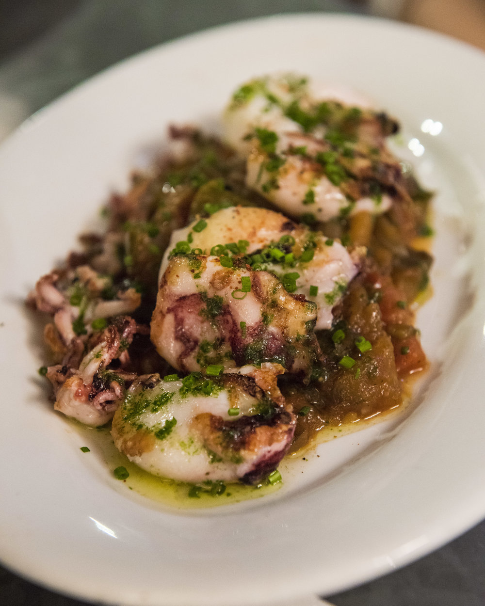 Baby squid with samfaina, Betlem, Barcelona.
