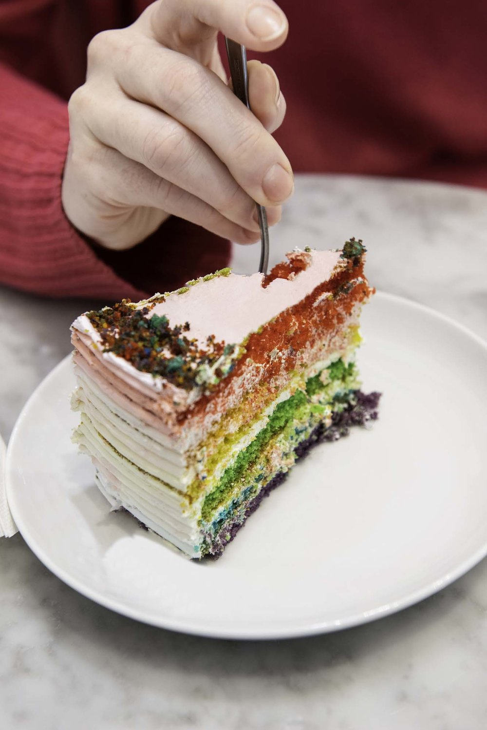 Rainbow cake at Bing Bing Cafe, Barcelona
