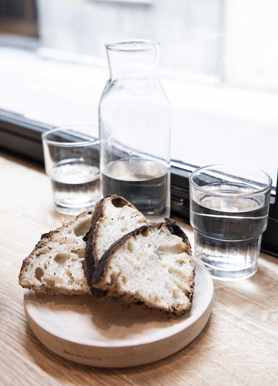 Freshly baked sourdough bread at Berbena restaurant, Barcelona