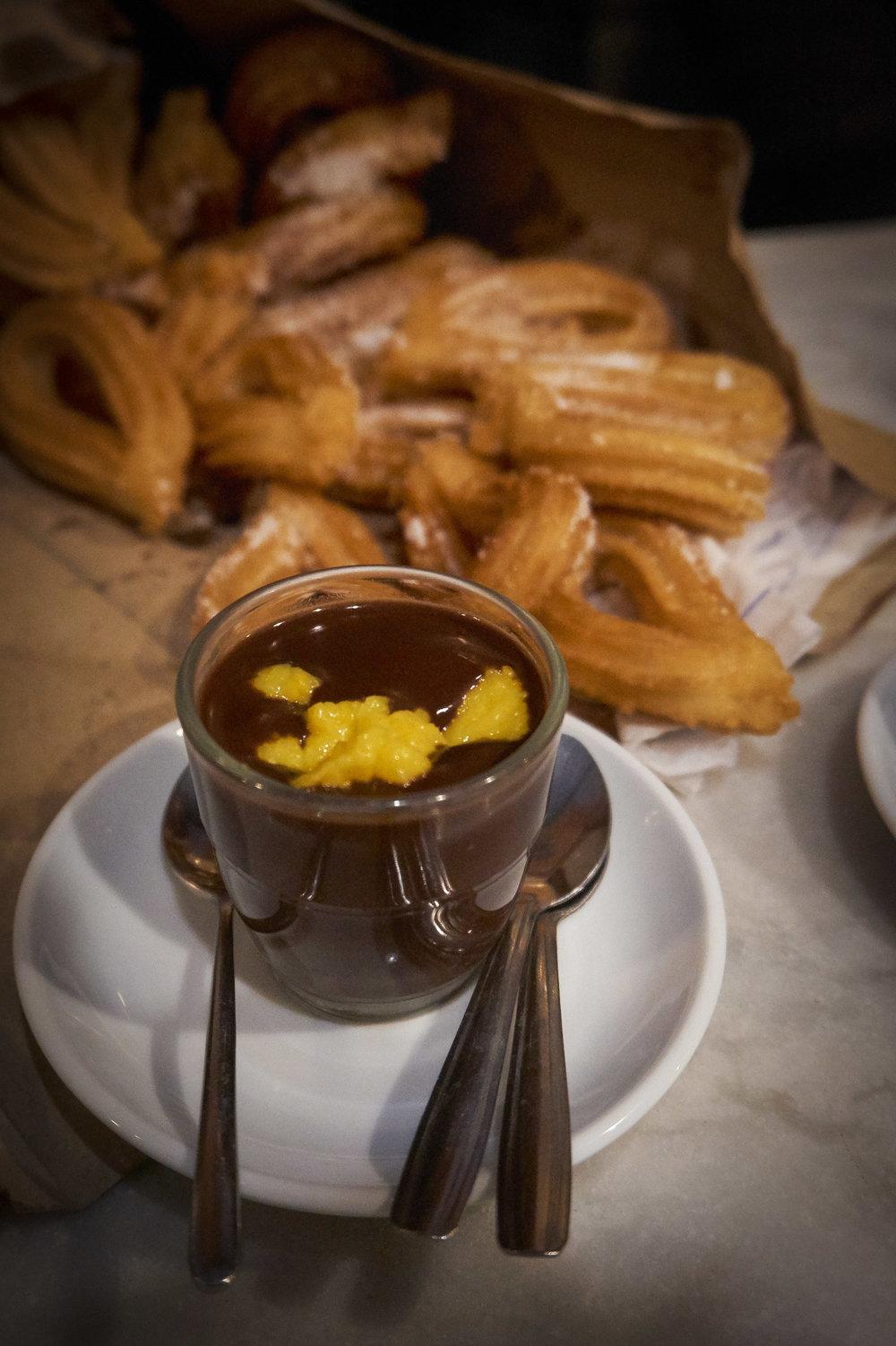 Churros and orange hot chocolate at La Granja 1872, Barcelona