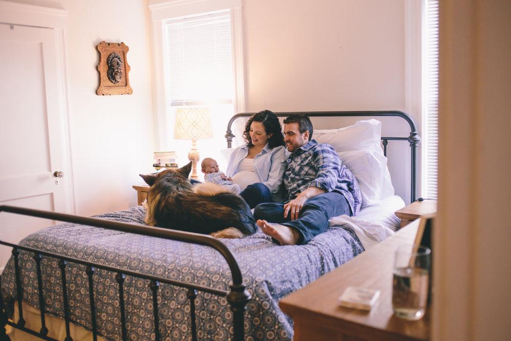 lifestyle newborn session master bedroom
