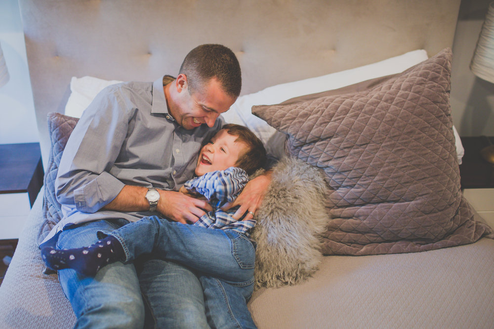 father and son newborn lifestyle session