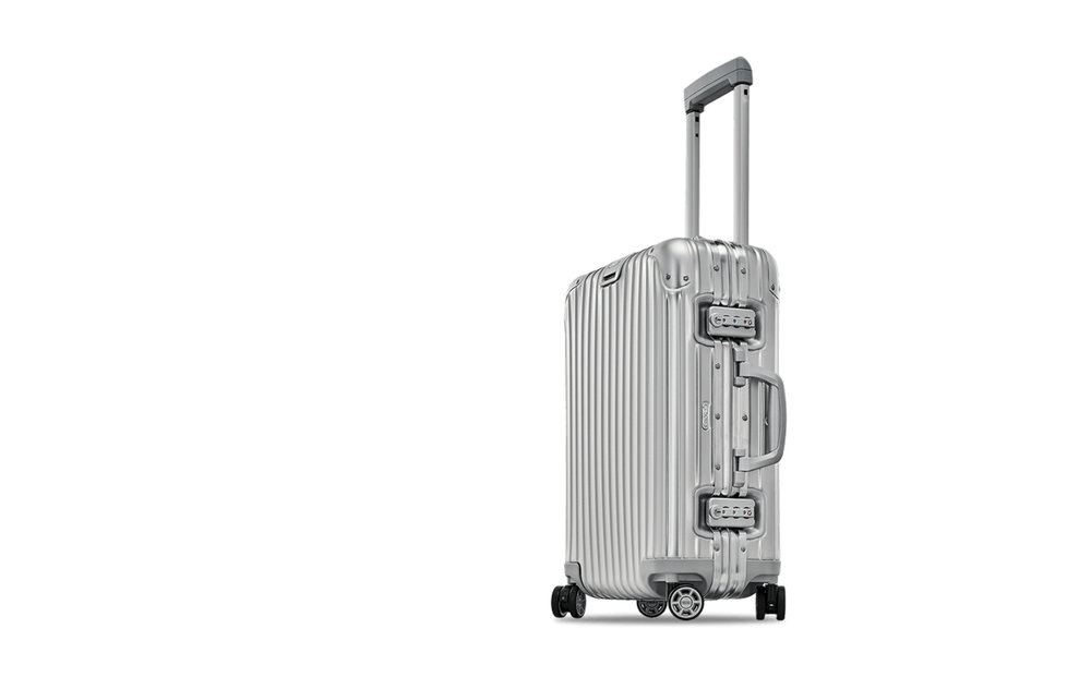 Rimowa,  topas cabin multiwheel suitcase , price unknown.