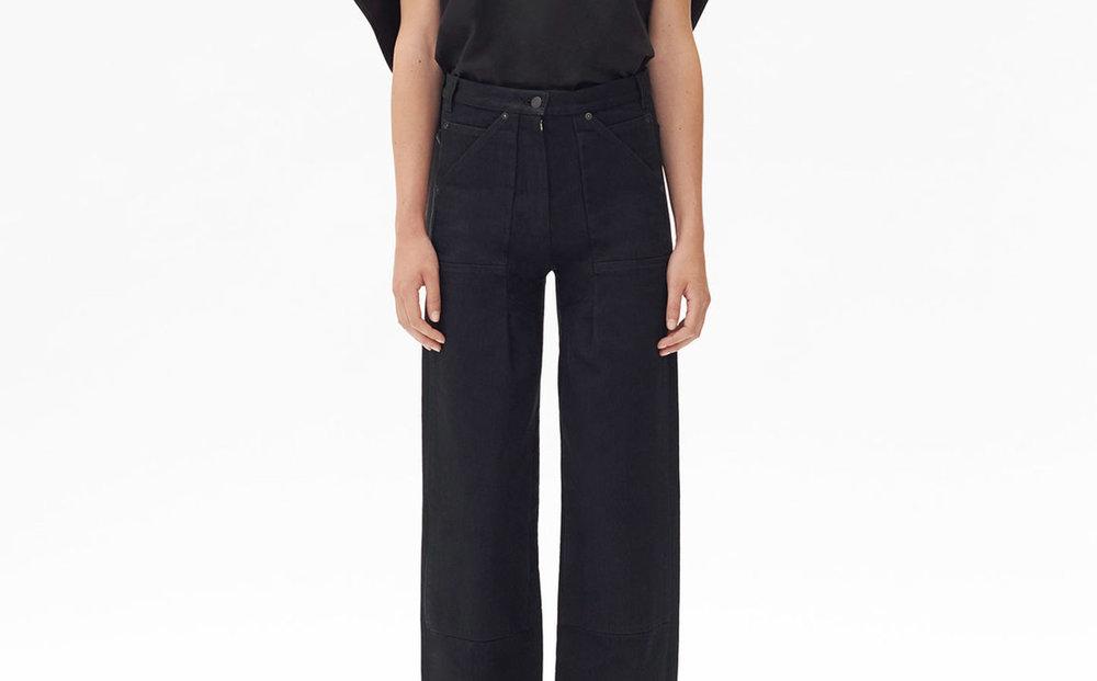 Celine,  large trousers in denim , $890.