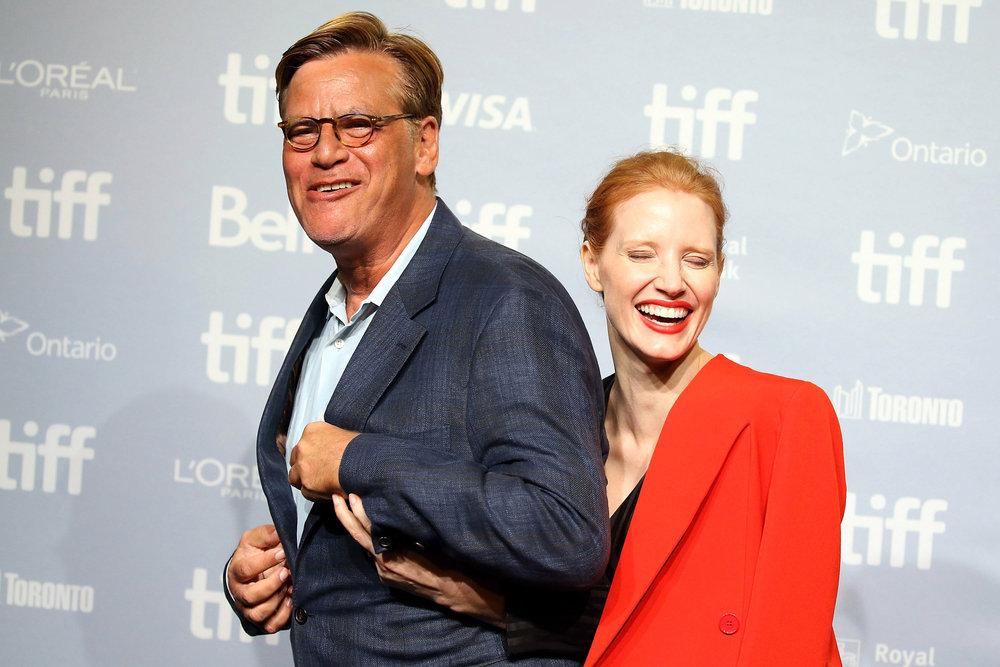Aaron Sorkin and Jessica Chastain