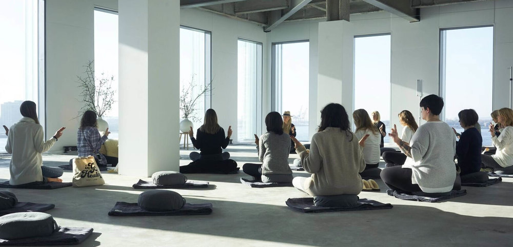 During a meditation practice—you can spot me down the center (in all-black)...