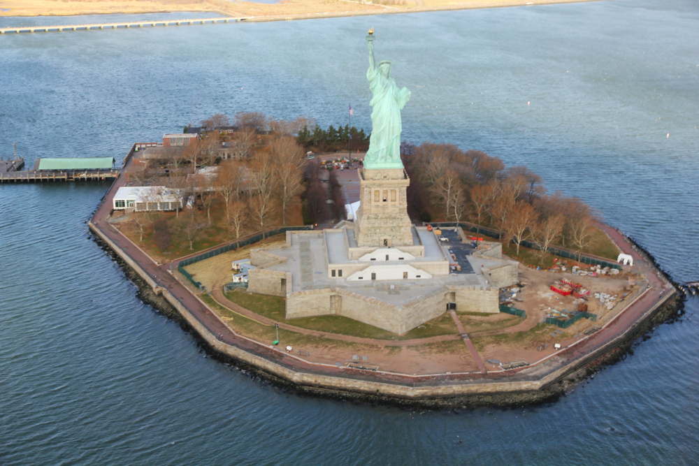 Statue of Liberty from the air, New York