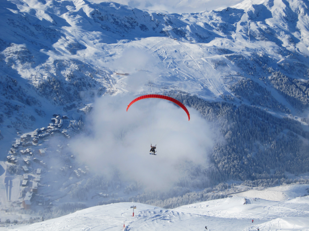 Paragliding over the Meribel Village