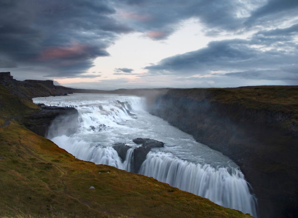 Gullfoss Waterfall at Sunset, Iceland