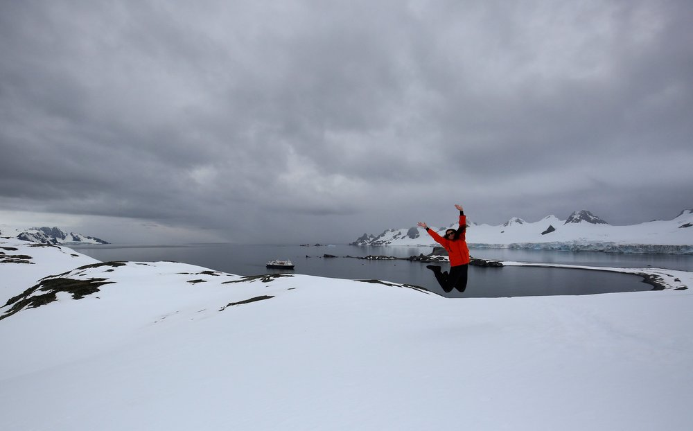 Jumping for joy at reaching my 7th Continent - Antarctica