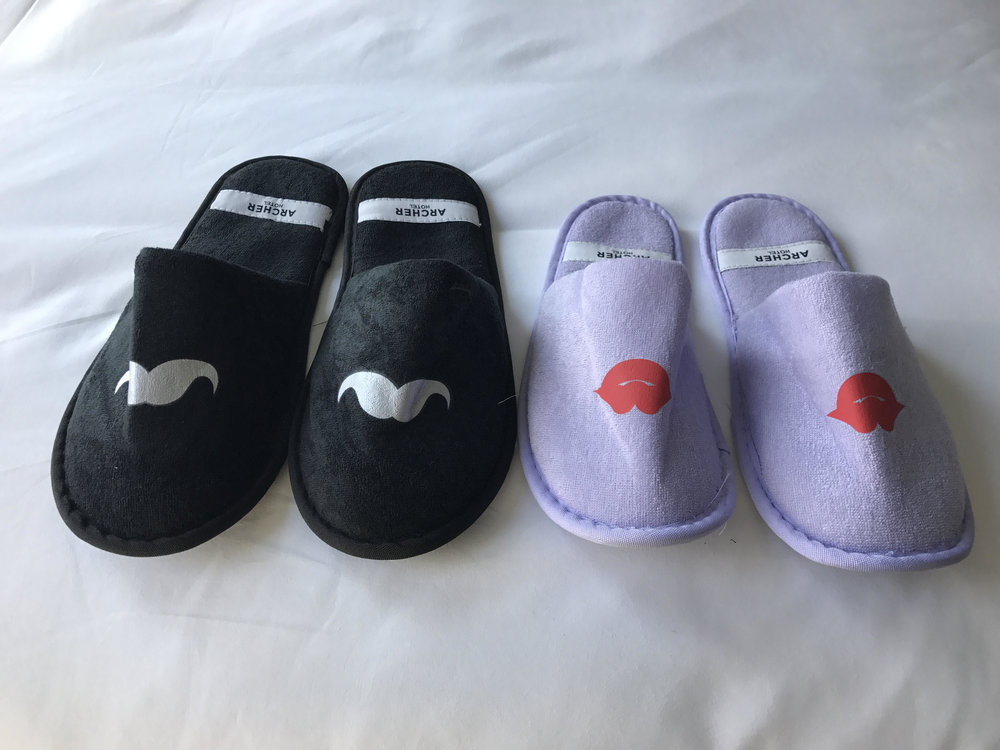 His & Her Complimentary Slippers - Archer Hotel NYC