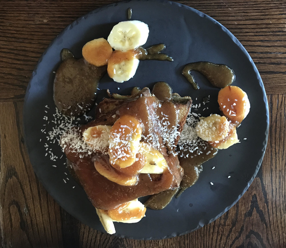 French Toast, Rum Caramel Sauce and Banana -  Elevage Restaurant