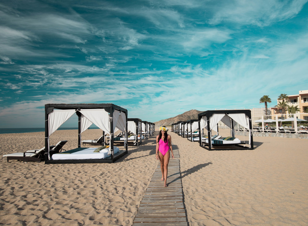 The beach cabanas at Pueblo Bonito Pacifica Golf & Spa Resort