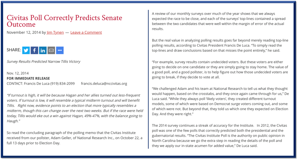 Civitas Poll Correctly Predicts Senate Outcome - National Research Inc.