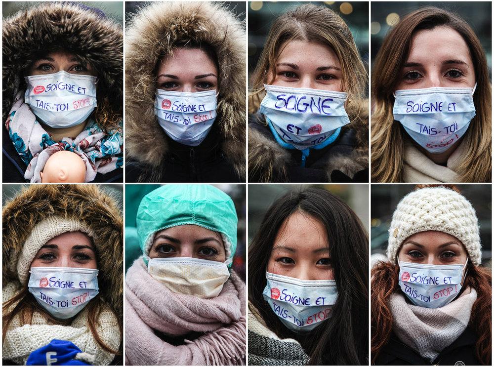 Portraits d'infirmières à Paris pour dénoncer la dégradation de leurs conditions de travail et pour demander une meilleure reconnaissance de leur diplôme. Paris. 2017.