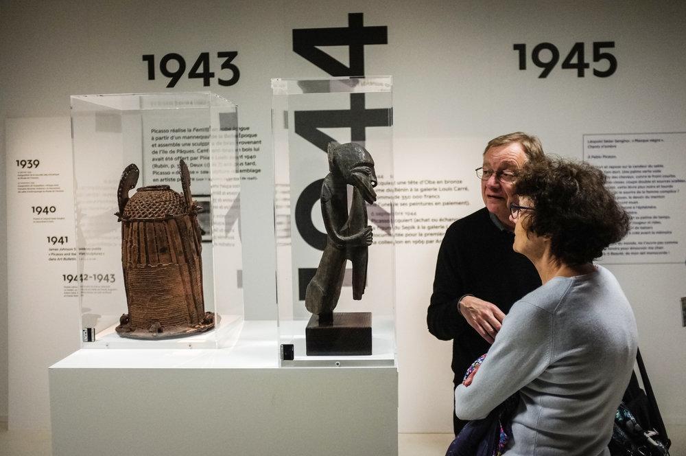 """Exposition """" Picasso Primitif """"au Quai Branly-Jacques Chirac, musee national des arts premiers àParis en 2017.L'exposition explore la rencontre de l'artiste espagnol Pablo Picasso avec les arts premiers."""