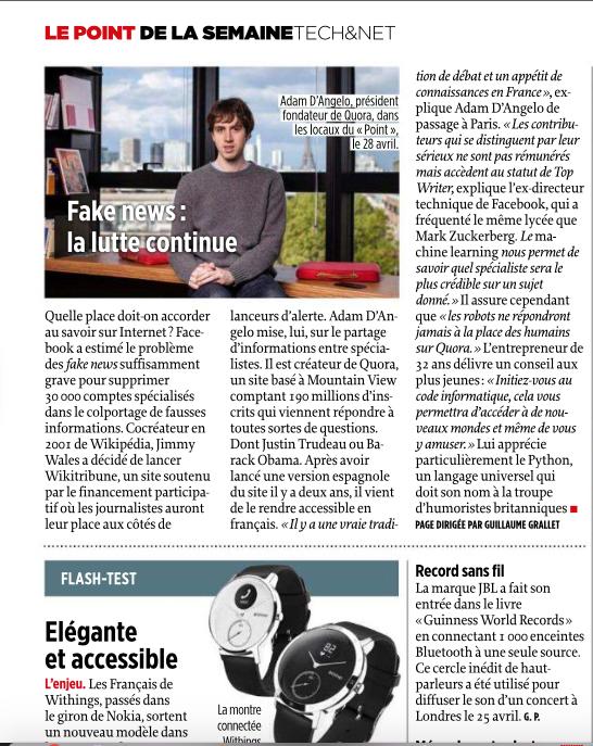 Portrait de Adam d'Angelo, fondateur de la plateforme de partage de connaissances Quora et ancien directeur technique de Facebook. Pour Le Point. 04 mai 2017.