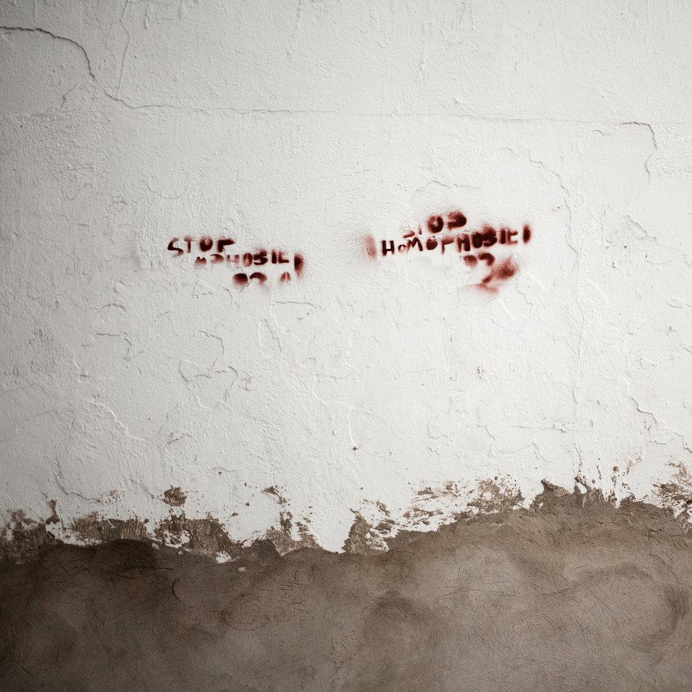 "Graffiti ""stop homophobia"" sur les murs de La Marsa,banlieue nord de Tunis. Tunisie 2015"