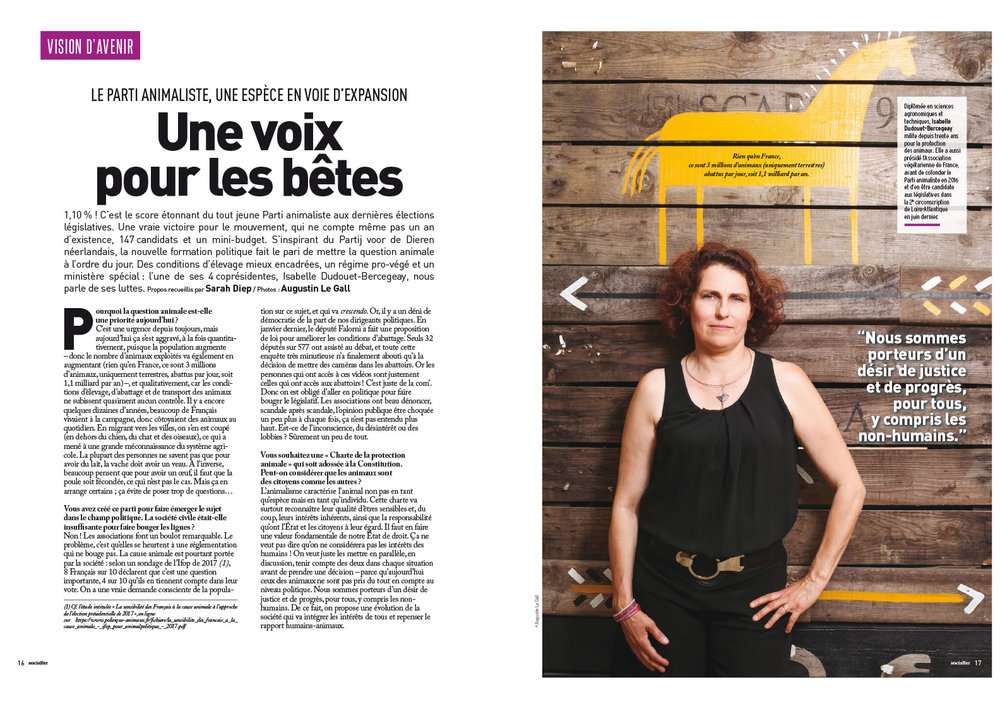 Portrait de Isabelle Dudouet-Bercegeay, co-présidente du parti animaliste. Pour Socialter. Nantes. Août 2017. / Portrait of Isabelle Dudouet-Bercegeay, co-leader of the animal rights party . Nantes. July 2017. For Socialter magazine.