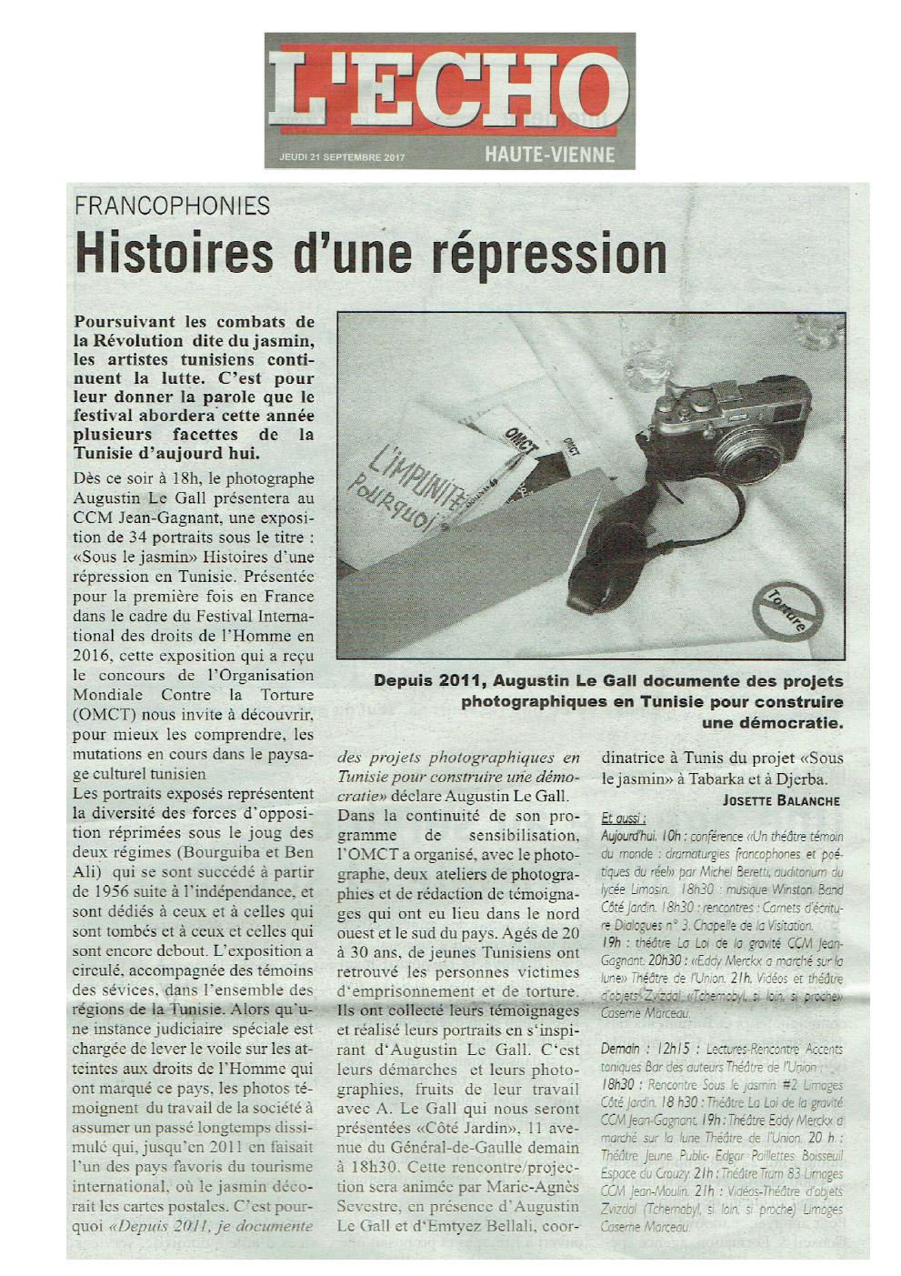 L'exposition Sous le Jasmin, histoires d'une répression en Tunisie, dans Les Echos (Limousin). Limoges.