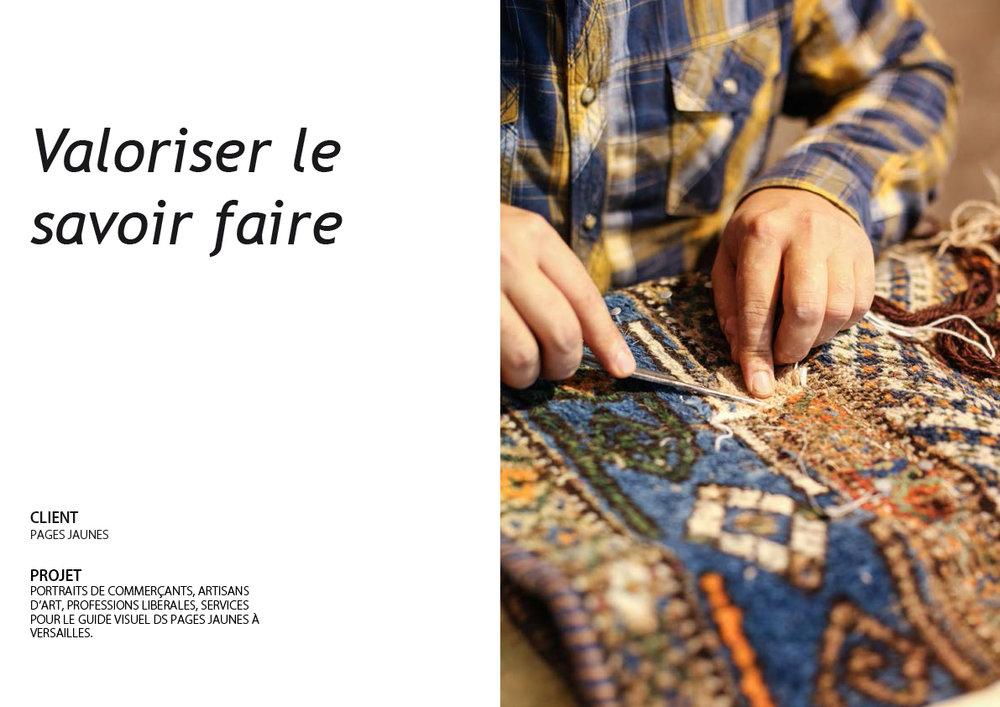Portraits d'artisans d'art, commerçants, profession libérales,... pour le guide visuel des Pages Jaunes. Versailles.