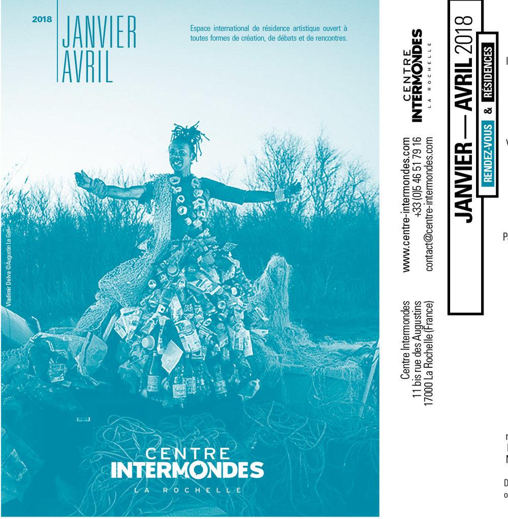 """""""Sainte Dérivée des Trottoirs"""" de Dimitri Delva. Couverture du programme de Centre Intermondes. La Rochelle. Janvier-Avril 2018."""