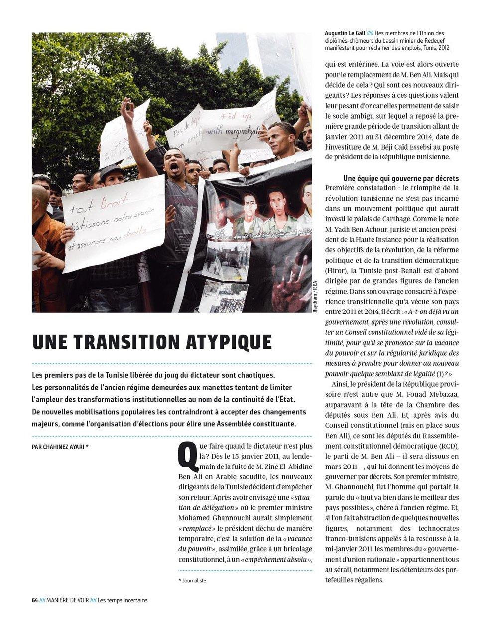 Le Monde Diplomatique / Manière de voir : « le défi tunisien » Juillet -Août 2018