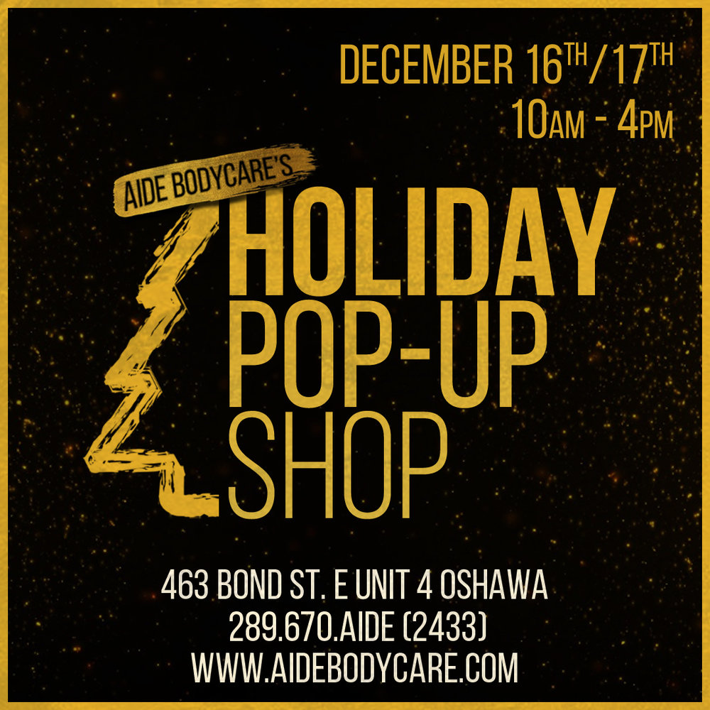 Weekend 2 of our Spectacular 2 Weekend Holiday Pop-Up Event! The show will take place over TWO DAYS with DIFFERENT VENDORS EACH DAY and will feature talent from all across Durham Region & Toronto DEC 16TH 10AM-4PM BABY / TODDLER / KID VENDORS Sarita Baby Adorably Surly Wee & Wild Little Fox Threads Isabella's Chocolate Cafe DEC 17th 10AM-4PM Sous Sous Love at First Blush Seven Sisters Tea With Love Lingerie Laura Madill Macrame Free Event! Free Parking!  Hope to see you there!  Michelle xo