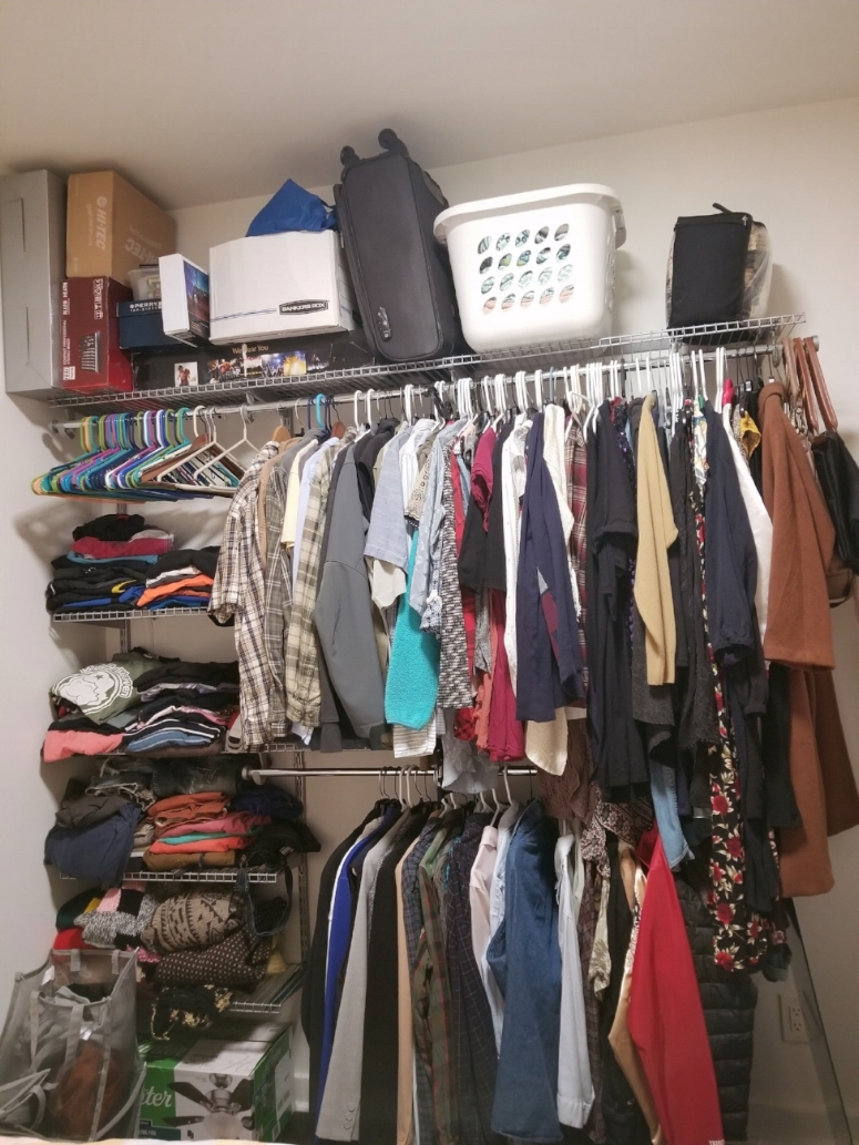 """Dubbed as """"the wall-mounted shelving unit from hell."""" Abby and Josh didn't have any closets in the apartment, so they had to get one of these DIY shelving units for storage. It took over a week to put it together, and both of them cried during the process."""