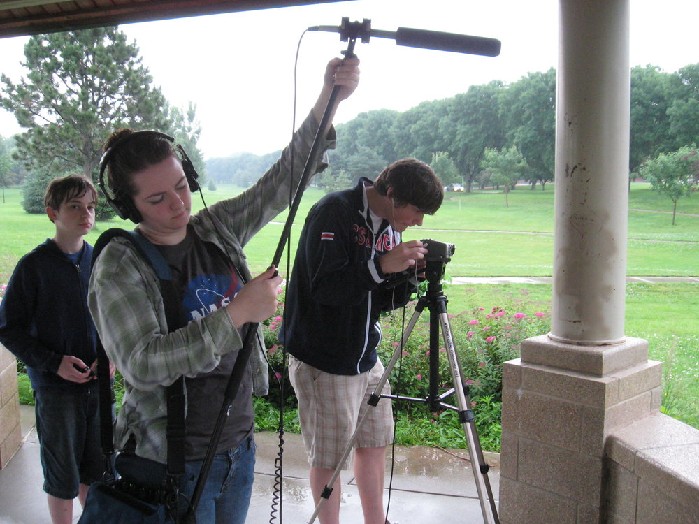 Matt, far right, tinkering around with film projects during that summer.