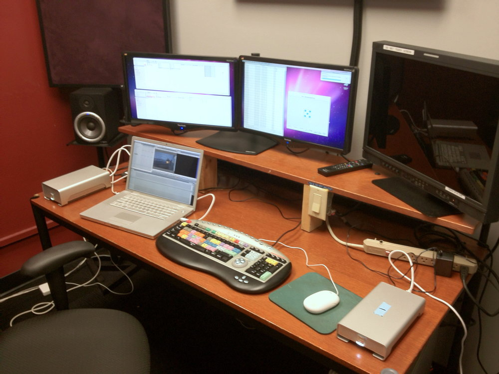 Shot of an edit suite at his work-study.