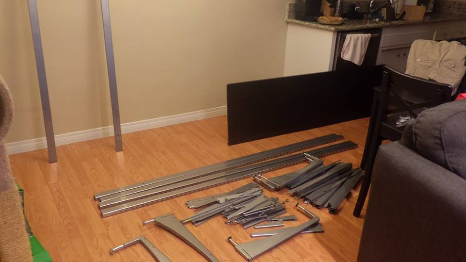 Lots of parts and pieces eventually make a super helpful and handy vertical desk.