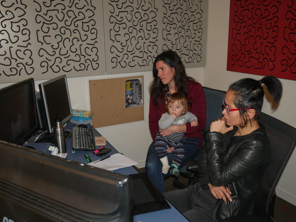 Lyra Editing the Kiwi-German short film  Milk,  with her director Pennie Hunt, in NZ in 2018 before Lyra left for Oz.