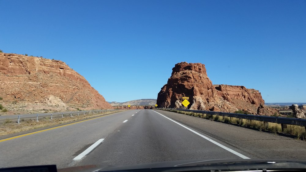 Wide OPen Road and mountains.