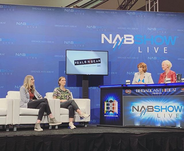 In between talking tech and the future of post, @kiaora_bro and @hillary.dillary got a shout out to BCPC on the #galsngear #nabshowlive broadcast. Hillary was selected as a BCPC PDAP recipient two years ago to attend EditFest LA from her home state of Indiana. Now she's at NAB on her own, writing for Creative COW, and holding her own on panels too!