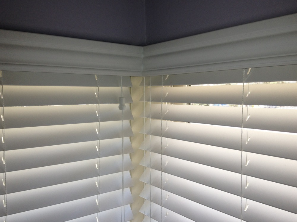 2 inch faux wood blinds valance in cornerjpg