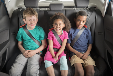 Fits three children safely across a back seat easily