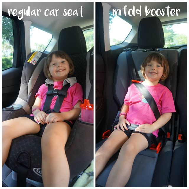 The Mifold comes in 6 colors (we got  the denim blue ) and is easy to spot clean if your kid is messy. It's also great for kids who carpool--no moving seats in and out constantly--or families who have to seat 3 kids across the back seat.  Check out my video review where you can get an up close look at the set-up process and the Mifold in action! (Excuse the constant baby chatter in the background and the severe amount of sweat. That's what you get when you're a family travel blogger doing a review outside in Charleston, South Carolina, in the depths of July.)