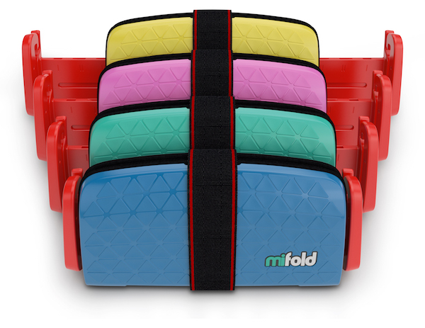 """Features –  Finding a booster with a strong exterior is important to consider, but you have to find something comfortable too. Especially those of us dependant on the car ride home for our little one to fall asleep. The mifold seat cushion is made with  DenseFoam™ and  FrictionFabric™ to give your child a comfortable but supportive ride.  With a product this safe and comfy, the convenience of mifold  makes it a must buy . No more paying to check the booster seat when you fly. No more struggle to clip in the kids. No more running out of space for your non-toddler passengers. Fold it up and stash it under the seat, in the glove box, in your seatback pocket…I think you get my point.  You'd imagine something so easy to carry around would get trashed pretty easily, and even more likely for parents who fight to protect household items from their toddler(s). Luckily, when not in use, mifold clips shut and it's hard case protects the seat cushion from everyday wear and tear.  Now, a few tips for prospective shoppers. Read your shoulder belt guide carefully, some users find it difficult to understand, but placement is important! If you're looking to strap into the middle seat (yes, three car seats can safely be used at once.) be sure that your car is compatible. Some users have found that a back-middle seat with a """"mini-buckle"""" won't work with mifold. Just as with most things in life, practice makes perfect.  Have patience with your kids and provide encouragement for the first few times you assist in setting them up in this portable booster. The more frequently it is used over time, the more quickly your kids will be able to adjust the seatbelt strap and be ready to go. To ensure that you have correctly set up the booster seat, most importantly for safety measures, this instructional  video provides a great explanation on how to properly utilize the portable booster seat for your kids."""